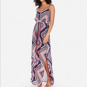 Express printed tie front maxi dress
